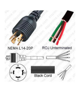 Locking NEMA L14-20 Male to ROJ Unterminated Female 3.2 Meters 20 Amp 250 Volt 12/4 SOOW Black Power Cord