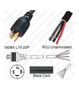 Locking NEMA L15-20 Male to ROJ Unterminated Female 3.2 Meters 20 Amp 250 Volt 12/4 SOOW Black Power Cord