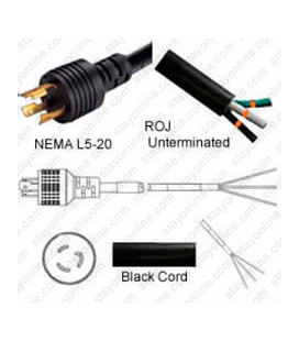 Locking NEMA L5-20 Male to ROJ Unterminated Female 3.2 Meters 20 Amp 125 Volt 12/3 SJT Black Power Cord
