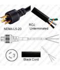 Locking NEMA L5-20 Male to ROJ Unterminated Female 3.2 Meters 20 Amp 125 Volt 12/3 SJT Black Power Cord
