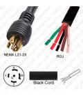 Locking NEMA L21-20 Male to ROJ Unterminated Female 3.2 Meters 20 Amp 208 Volt 12/5 STO Black Power Cord