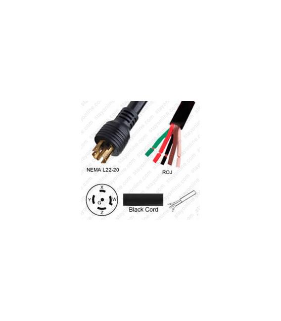 Locking NEMA L22-20 Male to ROJ Unterminated Female 3.2 Meters 20 Amp 480 Volt 12/5 STO Black Power Cord