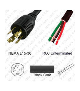 Locking NEMA L15-30 Male to ROJ Unterminated Female 3.2 Meters 30 Amp 250 Volt 8/4 SOOW Black Power Cord