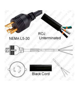 Locking NEMA L5-30 Male to ROJ Unterminated Female 3.2 Meters 30 Amp 125 Volt 10/3 SJT Black Power Cord