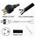 NEMA L6-30 Male to ROJ Unterminated Female 3.2 Meters 30 Amp 250 Volt 10/3 SJT Black Power Cord