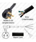 NEMA 5-30 Down Male to ROJ Unterminated Female 3.2 Meters 30 Amp 125 Volt 10/3 SOOW Black Power Cord