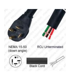 NEMA 15-50 Down Male to ROJ Unterminated Female 3.2 Meters 45 Amp 250 Volt 6/4 SOOW Black Power Cord