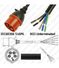 IEC 60309 516P6 Male to ROJ Unterminated Female 3.2 Meters 16 Amp 415 Volt H05VV-F 5x2.5 Black Power Cord
