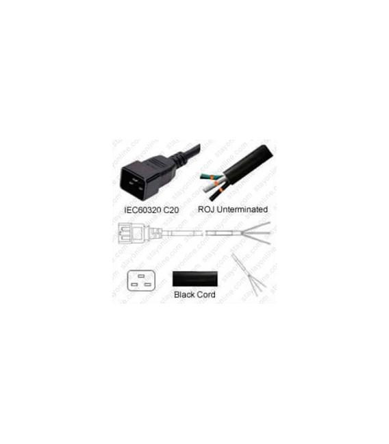 C20 Male to ROJ Unterminated Female 3.2 Meters 16 Amp 250 Volt H05VV-F 3x1.5 Black Power Cord