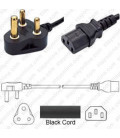 South Africa SANS 164-1 Down Male to C13 Female 1.8 Meters 10 Amp 250 Volt H05VV-F 3x1.0 Black Power Cord