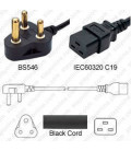South Africa SANS 164-1 Down Male to C19 Female 2.5 Meters 16 Amp 250 Volt H05VV-F 3x1.5 Black Power Cord