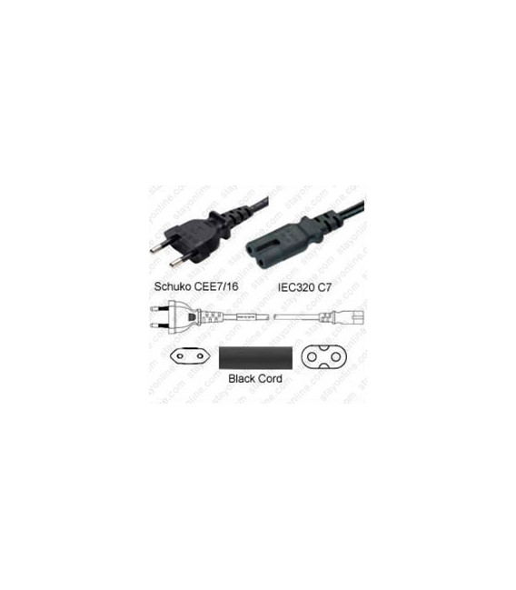 Euro CEE 7/16 Male to C7 Female 1.8 Meters 2.5 Amp 250 Volt H03VVH2-F 2x0.75 Black Power Cord