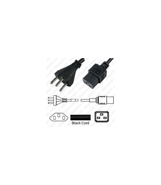 Switzerland SEV 1011 Male to IEC 60320 C19 Female 3.0 Meters 16 Amp 250 Volt H05VV-F 3x1.5 Black Power Cord