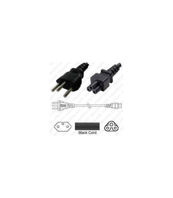 Switzerland SEV 1011 Male to C5 Female 1.8 Meters 2.5 Amp 250 Volt H05VV-F 3x0.75 Black Power Cord