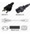 Switzerland SEV 1011 Male to C15 Female 2.5 Meters 10 Amp 250 Volt H05VV-F 3x1.0 Black Power Cord