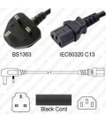 U.K. BS 1363 Down Male to C13 Female 1.0 Meters 10 Amp 250 Volt H05VV-F 3x0.75 Black Power Cord