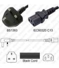 U.K. BS 1363 Down Male to C13 Female 1.0 Meters 10 Amp 250 Volt H05VV-F 3x0.75 Black Power Cord