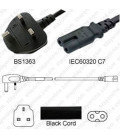U.K. BS 1363 Down Male to C7 Female 1.8 Meters 2.5 Amp 250 Volt H03VVH2-F 2x0.75 Black Power Cord