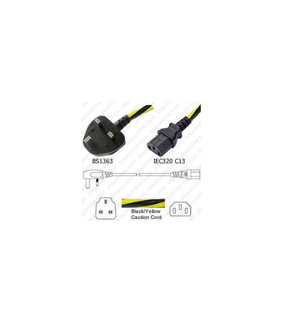 Caution Power Cord U.K. BS 1363 Down Male to C13 Female 2.0 Meters 10 Amp 250 Volt H05VV-F 3x1.0 -Caution Power Cord