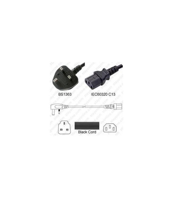 U.K. BS 1363 Down Male to C13 Female 3.0 Meters 10 Amp 250 Volt H05VV-F 3x1.0 Black Power Cord
