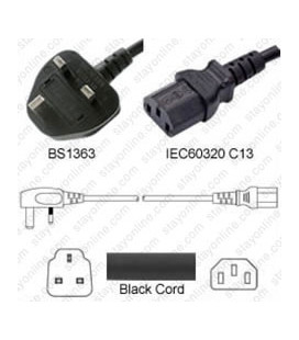 U.K. BS 1363 Down Male to C13 Female 3.0 Meters 10 Amp 250 Volt H05VV-F 3x1.0 Black Power Cord