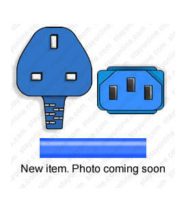 Blue Power Cord U.K. BS 1363 Down Male to C13 Female 2.5 Meters 10 Amp 250 Volt H05VV-F 3x1.0