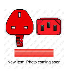 Red Power Cord U.K. BS 1363 Down Male to C13 Female 2.5 Meters 10 Amp 250 Volt H05VV-F 3x1.0