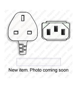White Power Cord U.K. BS 1363 Down Male to C13 Female 2.5 Meters 10 Amp 250 Volt H05VV-F 3x1.0