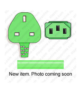 Green Power Cord U.K. BS 1363 Down Male to C13 Female 2.5 Meters 10 Amp 250 Volt H05VV-F 3x1.0