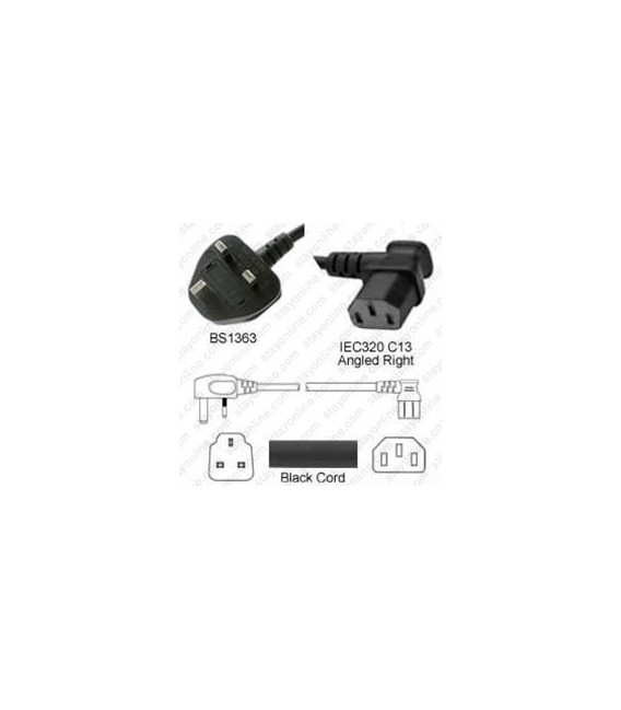 U.K. BS 1363 Down Male to C13 Right Female 2.0 Meters 10 Amp 250 Volt H05VV-F 3x1.0 Black Power Cord