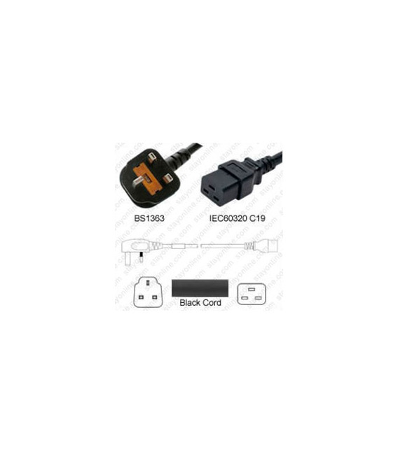 U.K. BS 1363 Down Male to C19 Female 2.5 Meters 13 Amp 250 Volt H05VV-F 3x1.5 Black Power Cord