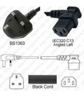 U.K. BS 1363 Down Male to C13 Left Female 2.0 Meters 10 Amp 250 Volt H05VV-F 3x1.0 Black Power Cord