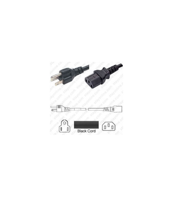 Taiwan CNS 10917 Male to C13 Female 1.8 Meters 7 Amp 125 Volt VCTF 3x0.75 Black Power Cord