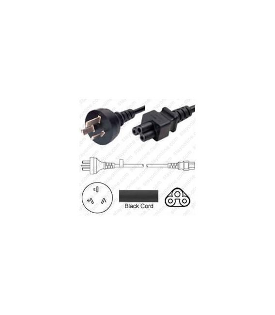 Argentina IRAM 2073 Male to C5 Female 1.8 Meters 2.5 Amp 250 Volt H05VV-F 3x0.75 Black Power Cord