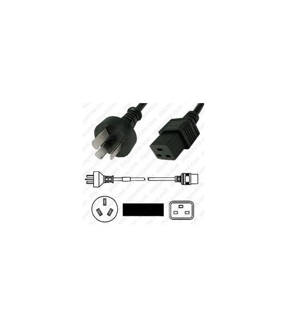 Argentina IRAM 2073 Male to C19 Female 3.0 Meters 16 Amp 250 Volt H05VV-F3G1.5 Black Power Cord