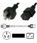 Argentina IRAM 2073 Male to C19 Female 3.0 Meters 16 Amp 250 Volt H05VV-F3G1.5 Black Power Cord