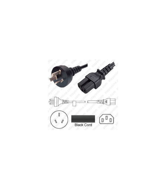Argentina IRAM2073 Male to C13 Female 2.5 Meters 10 Amp 250 Volt H05VV-F3G1.0 Black Power Cord