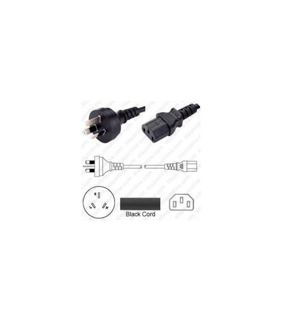 Australia AS 3112 Male to C13 Female 1.8 Meters 10 Amp 250 Volt H05VV-F 3x0.75 Black Power Cord