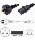Australia AS 3112 Male to C13 Female 1.8 Meters 10 Amp 250 Volt H05VV-F 3x0.75 Black Power Cord
