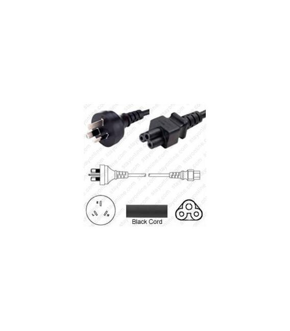 Australia AS 3112 Male to C5 Female 1.8 Meters 2.5 Amp 250 Volt H05VV-F 3x0.75 Black Power Cord