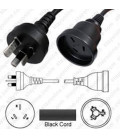 Australia AS 3112 Male to Australia AS 3120 Female 7.6 Meters 10 Amp 250 Volt H05VV-F 3x1.0 Black Power Cord