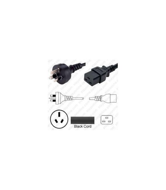 Australia AS 3112 Male to C19 Female 2.5 Meters 15 Amp 250 Volt H05VV-F 3x1.5 Black Power Cord