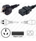 Australia AS 3112 Male to C19 Female 2.5 Meters 15 Amp 250 Volt H05VV-F 3x1.5 Black Power Cord
