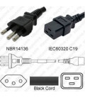 Brazil NBR 14136 Male to C19 Female 1.8 Meters 16 Amp 250 Volt H05VV-F 3x1.5 Black Power Cord
