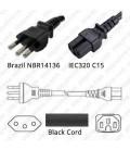 Cord Brazil-S/C15 Black 2.5m / 8' 10a/250v H05RR-F3G1.0