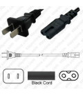 China GB 1002 Male to C7 Female 1.8 Meters 2.5 Amp 250 Volt H03VVH2-F 2x0.75 Black Power Cord