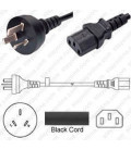 China GB 2099 Male to C13 Female 2.5 Meters 10 Amp 250 Volt H05VV-F 3x1.0 Black Power Cord