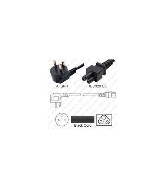 Denmark AFSNIT 107-2-D1 Up Male to C5 Female 1.8 Meters 2.5 Amp 250 Volt H05VV-F 3x0.75 Black Power Cord