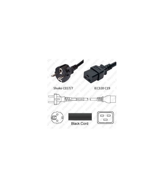 Schuko CEE 7/7 Male to C19 Female 2.0 Meters 16 Amp 250 Volt H05VV-F 3x1.5 Black Power Cord