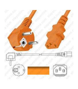 Euro CEE 7/7 Male to IEC60320 C13 Female 1.8 Meters 10 Amp 250 Volt H05VV-F3 0.75 Orange Power Cord